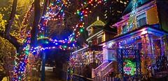 """Merry Christmas!"" - Vancouver, B.C. (TravelsWithDan) Tags: christmas city urban panorama canada night vancouver lights bc stitch"