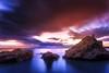 Purple sundown (ilias varelas) Tags: longexposure blue light sunset sea sky sun sunlight seascape motion beach water canon landscape rocks colours purple sundown greece ilias canonef1740mmf4l varelas canoneos6d