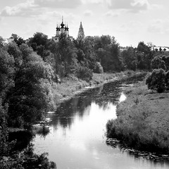 Church and the Kamenka river, Suzdal, Russia (travelingmipo) Tags: travel bw church fairytale river landscape photo europe russia orthodox  suzdal bnw 2014 goldenring      kamenka