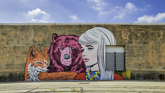 The Fox, The Bear & The Girl - Silos On Sawyer Wall (Mabry Campbell) Tags: orange usa building wall architecture painting photography photo colorful texas photographer exterior image unitedstatesofamerica fineart bricks houston wallart landmark fav20 hasselblad f90 photograph brickwall april 100 fav30 fineartphotography 38mm 2016 commercialphotography fav10 fav40 sec hariscounty mabrycampbell h5d50c thesilosonsawyer april152016 20160415campbellb0001211