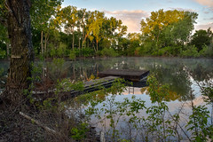 Small Pond-Diving Dock (thefisch1) Tags: trees sky cloud reflection tree water swimming relax fun interesting dock pond calendar diving spot cottonwood kansas leisure recreation oogle flinthill