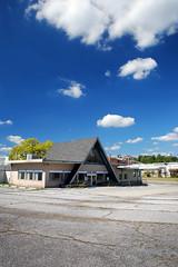 A-frame Diner (whitneygraphics) Tags: blue sky food cloud building restaurant pavement empty parking beverage diner desolate derelict culinary gravel aframe
