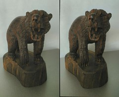 Carved Wooden Bear 2 3D Parallel View (HDR) (JonGames) Tags: bear wood sculpture brown animal mexico wooden stereogram 3d carving carve grizzly chisel parallel etch hdr