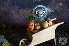 Frrabbit and Mr. Morkov (rioky_angel) Tags: cute monster creativity toys furry handmade ooak fluffy fantasy clay artdoll creature arttoy toymaker polimerclay riokycreatures
