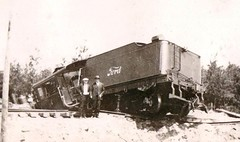 Train owned by the Ford Motor Company wrecked in Baraga County, Michigan, 1920s [721x427] #HistoryPorn #history #retro http://ift.tt/1TTet9T (Histolines) Tags: county 1920s history ford by train michigan retro company owned timeline motor wrecked baraga vinatage historyporn histolines 721x427 httpifttt1ttet9t