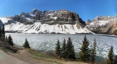 Bow Lake, Banff National Park, Alberta, Canada  psi(5)135-156 (photos by Bob V) Tags: panorama lake mountains rockies banff rockymountains mountainlake banffnationalpark bowlake canadianrockies banffalberta banffpark banffalbertacanada mountainpanorama