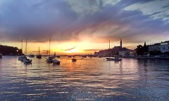 Rovinj, Istria, Croatia (Nikos Niotis) Tags: sunset sea sky sun colors clouds landscape town seaside europe colours ships sails croatia balkans oldtown seashore rovinj adriatic istria rovinjo istraska