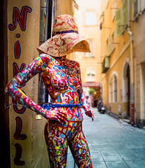Naked in Nice (Johnners61) Tags: street old city blur france colour mannequin hat pen naked nude four town nice alley olympus panasonic micro figure colourful psychedelic nudity dummy olympuspen oldtown narrow thirds 1235 vario m43 mft microfourthirds epm2