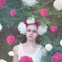 Flowers in the air. (adriortner) Tags: new pink flowers red summer portrait woman naturaleza white flower green me nature girl face look self myself photography nikon with air free floating feeling moment leafs today selfie d7100