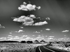 The Teepees. (isaacullah) Tags: road travel light arizona sky texture monochrome clouds desert