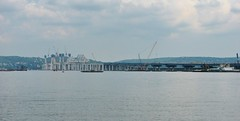 THE NEW TAPPAN ZEE BRIDGE IN PROGRESS IN JUNE 2016 (richie 59) Tags: newyorkstate newyork unitedstates weekend saturday interstatehighway spring rocklandcountyny richie59 rocklandcounty townofclarkstown townofclarkstownny hudsonriver metronewyork newyorkstatethruway 2016 tappanzeebridge interstate287 thruway interstate87 june42016 june2016 southnyackny southnyack america 2010s bridge newbridge oldbridge bridgeconstruction constructionsite hudsonvalley nystate nys ny usa us outside highway freeway roadway road dividedhighway river water constructioncranes constructioncrane cranes crane trees waterfront bridgework