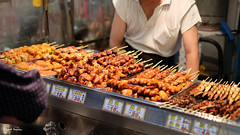 Skewered Chicken Butts (Angoenka) Tags: chicken taiwan bbq fujifilm streetfood skewers grills xt1