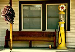 The Yellow Pump (creepingvinesimages) Tags: red colors yellow bench outdoors nikon valley texaco pew topaz antiquegaspump hbm restyle texacostar d7000 pse14 mtcrawfordshenandoah