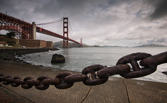 Rusty Chain (Ryan Gardiner) Tags: ocean sanfrancisco california bridge usa water landscape nikon rust rocks iron chain goldengatebridge mundane cracked pacificcoast seasalt eroded