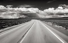 The view from the driver's seat, highway 93, northern Nevada. (eikonologos.images) Tags: blackandwhite monochrome highway nevada 93 myfujifilm