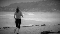 Million Dollar Baby (Rand Luv'n Life) Tags: california our blackandwhite baby beach monochrome female movie landscape pier seaside sand san waves outdoor diego daily quotes dollar million mission runner challenge odc marinescape