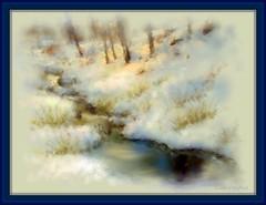 Bright spot (edenseekr) Tags: winter snow stream corelpainter snowbanks digitallypainted
