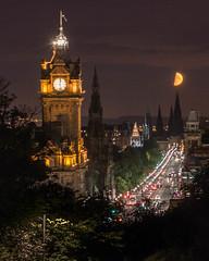 Edinburgh Princes Street by Night.jpg (mickstrefford) Tags: longexposure moon night edinburgh nightshot princesstreet moonlight caltonhill lighttrail nighttraffic
