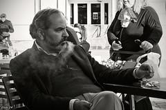 Estoy que echo humo!! (photoschete.blogspot.com) Tags: madrid plaza city urban white black blancoynegro blanco canon person persona eos blackwhite smoke negro social urbana fumar humo 1000d