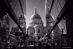 St Pauls from One New Change (Dave Lockwood DA12) Tags: blackandwhite london photoshop blackwhite aperture nikon cathedral stpauls stpaulscathedral onone d300s onenewchange perfecteffects8