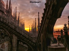 We where just on time on the roof #cathedral #Duomo di #milano to enjoy the #Sunset #tramonto wowwwww (DutchyinItaly) Tags: sunset tramonto cathedral milano duomo