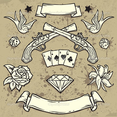 Old School by Gold Line Tattoo (Gold Line Tattoo) Tags: old urban dice gambling art monochrome sign rose set tattoo ink vintage stars skull graffiti drops wings gun lily graphic symbol background grunge ace cartoon decoration style dirty retro diamond pirate weapon pistol ribbon splash drawn insignia flover isolated element swallows revival zzzaamaablepfdcahegbhehegpgpcagfgmgfgngfgohehdcafdeffefpebgdgfhd