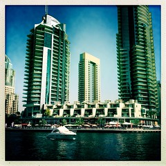 Dubai Marina 3 (sonofwalrus) Tags: water marina buildings boats dubai uae middleeast unitedarabemirates dubaimarina iphone  hipstamatic