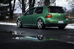 Dirty Gti CPL Composite (Chris Whit) Tags: winter snow reflection vw golf volkswagen puddle 50mm dof f14 low stock upstateny static gti tones lowered hatchback stance vr6 coilovers brokenlens mkiv hudsonvalley mk4 ravegreen fitment wintermode saugertiesny worldcars dubempire teampuddlegoose mkivkids