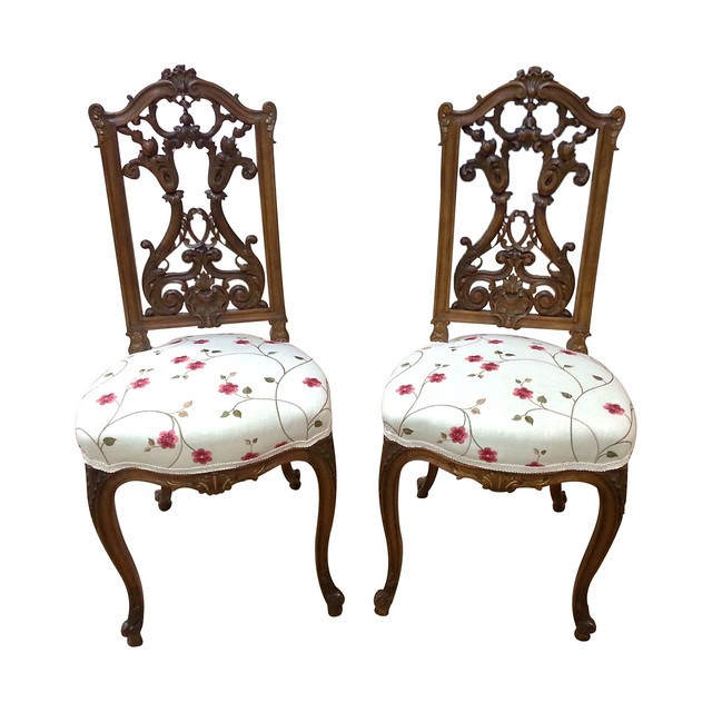 Pair of French Antique Louis XV Style Carved Walnut Ballroom Chairs