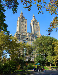 San Remo in the Sun (erice_dunn) Tags: nyc newyorkcity sky newyork warm centralpark bluesky lookingup upperwestside sanremo sunnyday centralparkwest nycarchitecture sanremoapartments