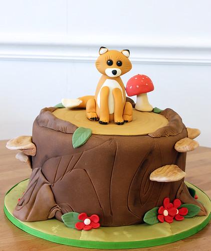 Woodland Forest Fox Birthday Cake