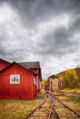 IMG_5766-edit (Erin A. Merritt Photography) Tags: railroad red storm metal clouds train canon rust industrial tracks rail 5d hdr redbarn markii