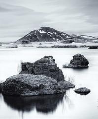 Myvatn (R.Price) Tags: blackandwhite mountain lake monochrome islands iceland website pillars volcanic myvatn northerniceland leefilters copyrightrichardprice iceland2016