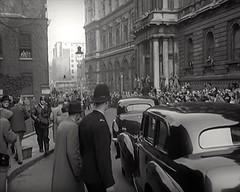 1955. Downing Street, Westminster, London, SW1, UK. (sgterniebilko) Tags: street uk people blackandwhite london westminster yard scotland 10 no politics crowd police queen cameras mounted churchill british mp hm press winston metropolitan whitehall equine sw1 downing resignation the