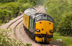 DRS Class 37/6 no 37602 heads a Derby to Derby test train down the Network Rail Test Track at Boughton Junction on 20-05-2016 (kevaruka) Tags: railroad blue england test orange color colour colors yellow yard train canon eos spring high mine flickr track colours britain outdoor united great transport rail railway kingdom trains front pit junction mining page april vehicle 5d locomotive dull freight nottinghamshire colliery boughton 1635 thoresby edwinstowe mk3 clipstone 2016 colas ef100400 37175 37424 37608 f4556l marnham cpal 37602 drs37 5d3 5diii ilobsterit