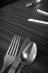 (142/366) Lunch Table (CarusoPhoto) Tags: bw food 6 white black project john table lunch photo day knife straw diner fork spoon sandwich il eat plus 365 everyday caruso mundane banal ordinary iphone 366 carusophoto