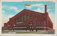 SE Ann Arbor MI c.1920s U of M's Yost Field House  built 1923 University of Michigan Maize & Blue WOLVERINES Athletic Facility Arena now YOST ICE ARENA designed by Smith, Hinchman and Grylls (UpNorth Memories - Donald (Don) Harrison) Tags: travel usa heritage history tourism vintage antique michigan postcard memories restaurants hotels trailer roadside upnorth cafes attractions motels cottages cabins campgrounds upnorthmemories rppc wonders michigan memories parks entertainment natural harrison roadside travel don tourist puremichigan stops upnorth