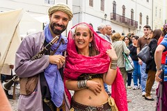 The musician and a belly dancer (Alfredo Mateus Photography) Tags: old musician music portugal festival bellydancer fair dancer medieval coimbra exibition medievalfair