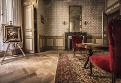 The best thing about Memories is making them.. (marco18678) Tags: world old light red urban france abandoned beautiful painting carpet lost photography mirror chair nikon fireplace europe natural decay exploring eu naturallight d750 chateau tamron decayed ue urbex 1530