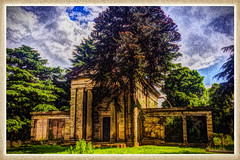 Day 177 of 366 - Nonconformist Chapel at the Cemetery! (editsbyjon) Tags: plant painterly building tree cemetery skyline architecture outdoor ruin chapel serene coventry lightroom iphone listedbuilding painteresque photoborder iphone365 lrcm iphoneography cameraawesome phototoaster