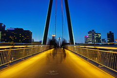 Holbeinsteg (stephan.hickisch) Tags: city bridge blue light red urban night buildings germany evening frankfurt main financial metropole holbeinsteg