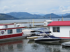 Houseboat and shack (trilliumgirl) Tags: lake canada mountains dock bc arm salmon houseboat columbia british shack