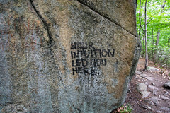 Your intuition led you here (kzoop) Tags: park newyork nature rock graffiti rocks outdoor hiking hike bearmountain manual 12mm bearmountainstatepark samyang majorwelchtrail majorwelch