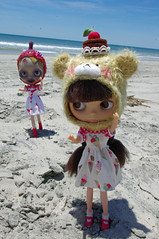 "4. Justine, ""GIT yer ice cream HERE!  Come GIT yer ice cream!  Da mos't duh-licious ice creams in all da worlds!!!""...... (blythe stole my heart) Tags: bike pig zombie scooter blythe custom outerbanks emeraldisle misfits blyth adg bl beachvacation imreal blythephotos vegaicecream"