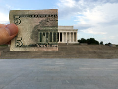 Five Dollars Off the Lincoln Memorial (AJ Brustein) Tags: park plaza morning usa money art monument pool museum stairs america mall aj reflecting early us bill dc washington memorial perfect 5 five empty united steps abraham cash illusion national staircase dollar half lincoln match thumb states fold speech currency address iphone selfie brustein 6s