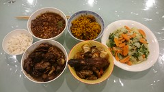 Leftover Aunt Lay Leong's ginger chicken, Julia's pork belly with black eye beans, roast duck and pork, lamb briyani, bokchoy (avlxyz) Tags: fb leftovers
