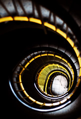 Basel Stairs (PM Kelly) Tags: city light abstract yellow turn photography stair noir steps twist down basel stairway