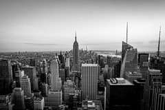 Manhattan in Mono (francis.mck.photo) Tags: above adverts blackandwhite building concrete day daylight empirestate ground lights lookdown low manhattan newyork roof screens shapes timessquare usa windows