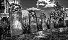 Headstones At The Abbey B&W (fozzy_miller) Tags: headstones grave graveyard death dead abbey wymondham wymondhamabbey blackandwhite bnw monochrome niksilverefexpro dodgeburn sonyalphaa200 richardmillerphotography