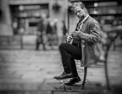 guitar player street portrait (Daz Smith) Tags: city uk portrait people urban blackandwhite bw musician music man streets male blancoynegro monochrome canon blackwhite bath bokeh guitar candid young citylife thecity streetphotography jacket busker performer dressed canon6d dazsmith
